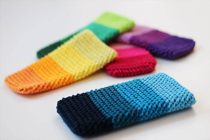 colorful crochet phone cover