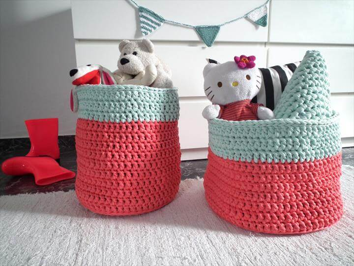 two crochet toys basket