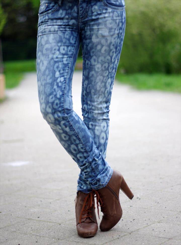 Bleached Patterned Jeans