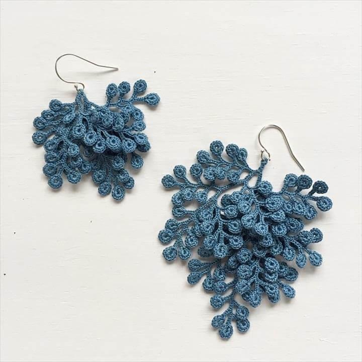 crochet tree earrings
