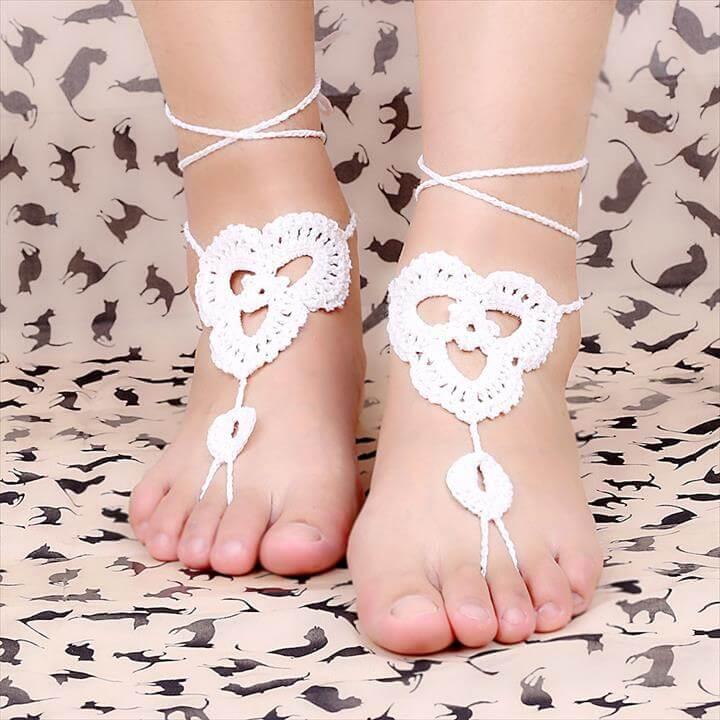 White crochet sandals