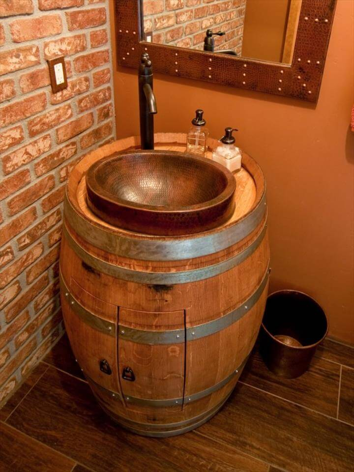Wine Barrel Vanity,CI Premier Copper Products Bathroom Vanity Repurposed Barrel