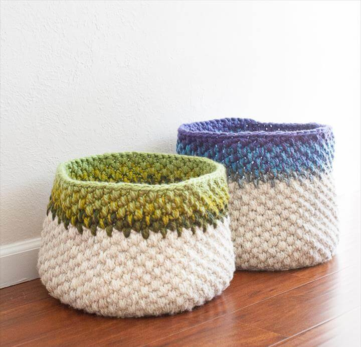 Save Scrap buster crochet baskets