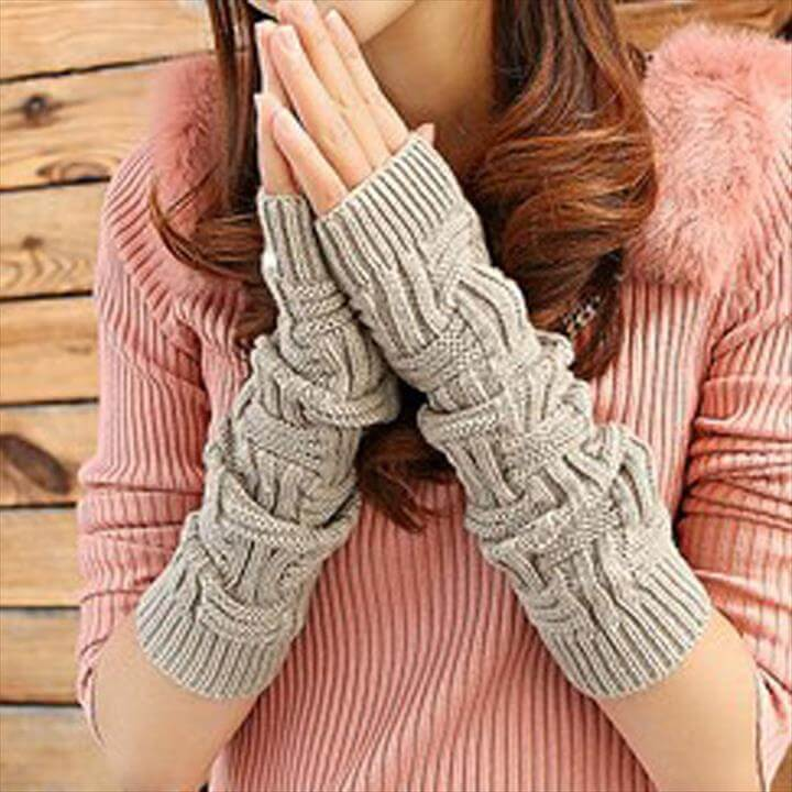 Fashion Lengthen Arm Warmers Autumn Winter Gloves Women Half-finger Glove Crochet Knitted Fingerless Lace
