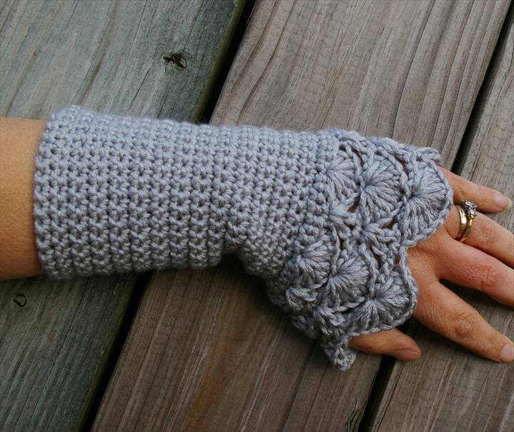 Crochet Arm Warmers Fingerless Gloves in Silver