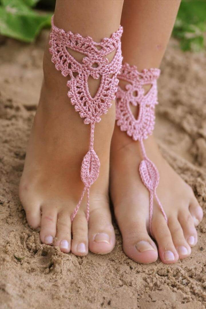 Crochet Old Rose Barefoot Sandals Nude shoes Foot