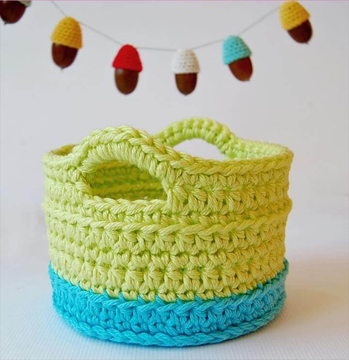 This is the first crochet basket that I have made. It turned out .