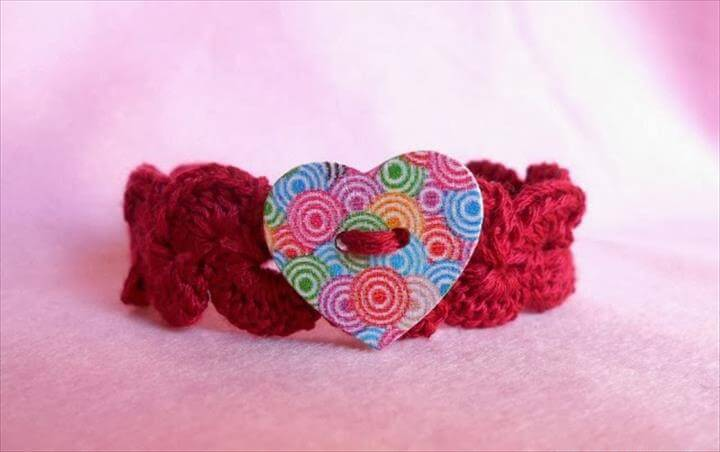 Crochet Bracelet with Heart Button