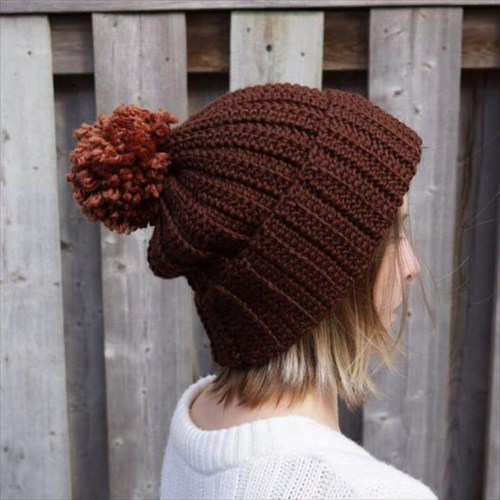Crochet hat ribbed beanie with pom pom