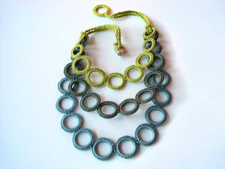 Statement crochet jewelry / Fiber art necklace
