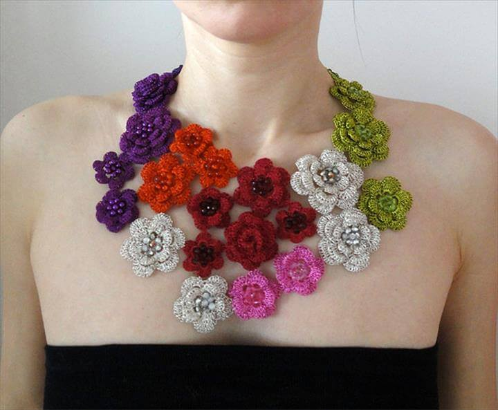 Crochet Jewelry Flowers necklace