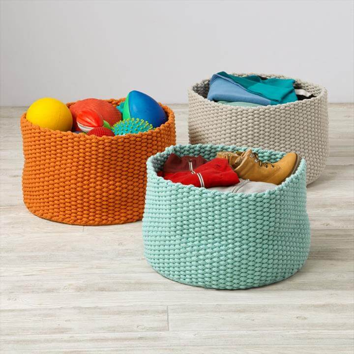 Letter Knitting Patterns : 46 Free & Amazing Crochet Baskets For Storage DIY to Make