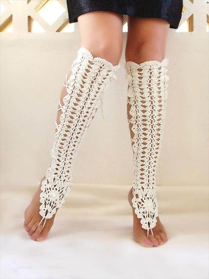 crochet lace leg warmer