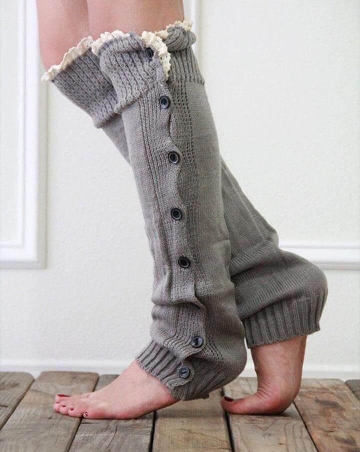 crochet leg warmer with sode button