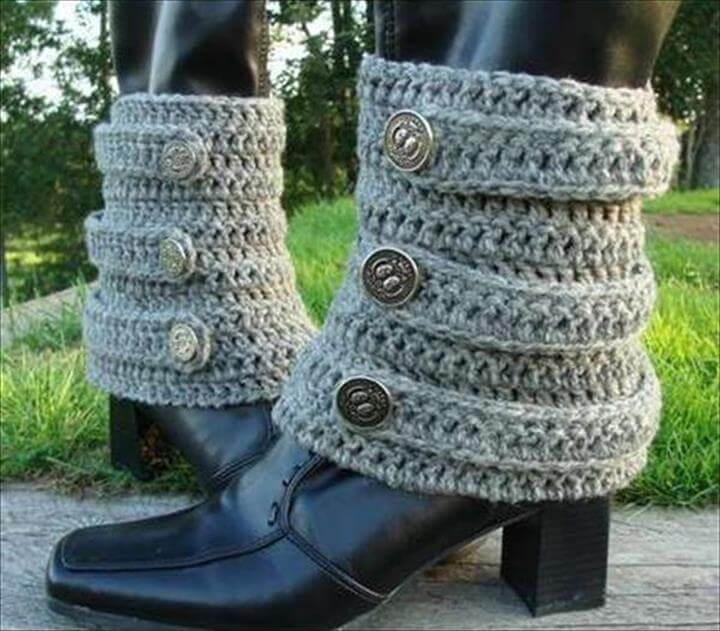 DIY Crochet Leg Warmer With Button
