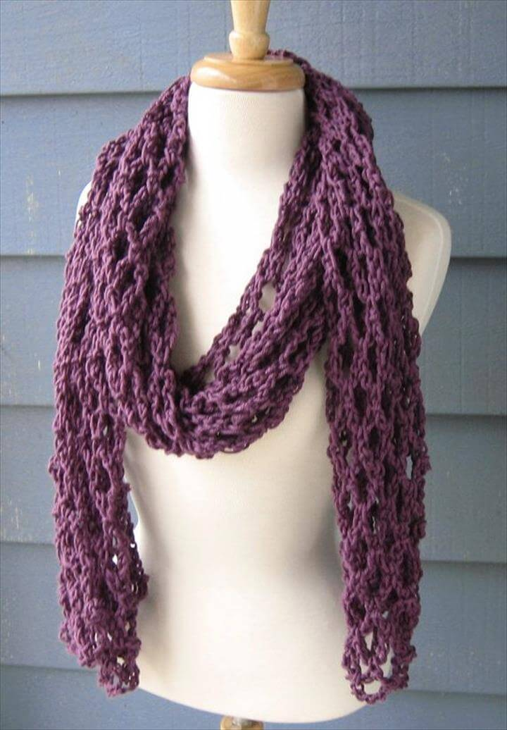 Crochet Mesh Scarf, Cowl, Neckwarmer,