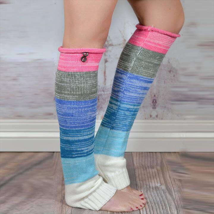 color block crochet leg warmer