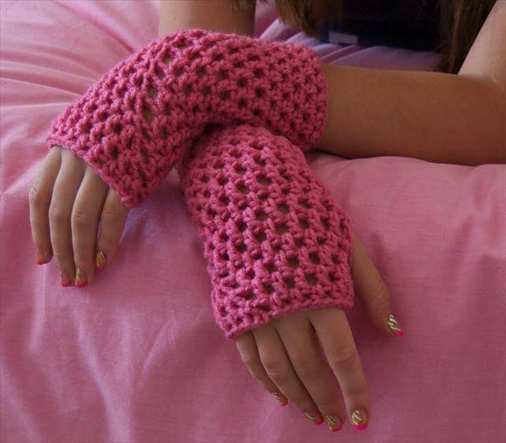 Openwork FIngerless Gloves