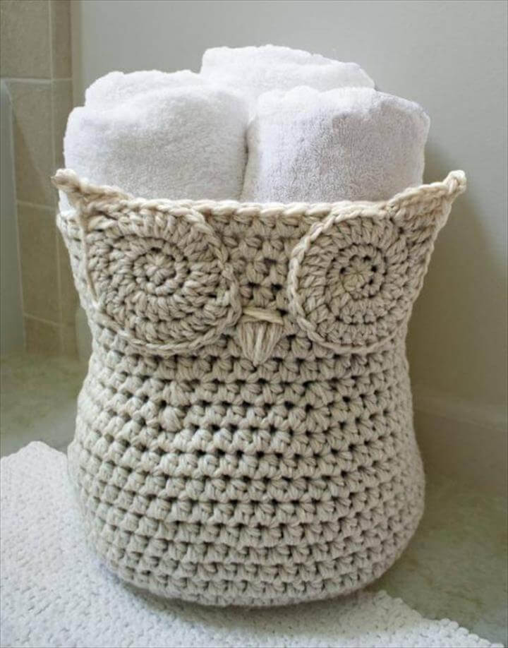Crochet Owl Yarn Basket Paid Pattern