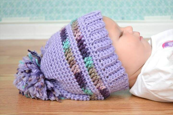 Crochet Pattern for a Purple Pom Pom Hat
