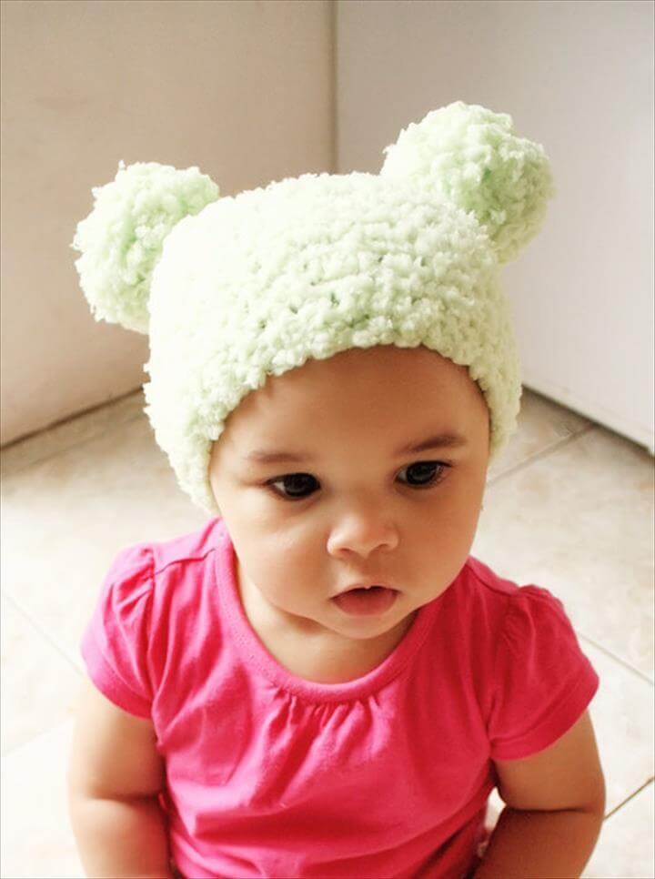 Pom Pom Hat Crochet Pom Pom Beanie - Crochet Baby Hat Lime Green .