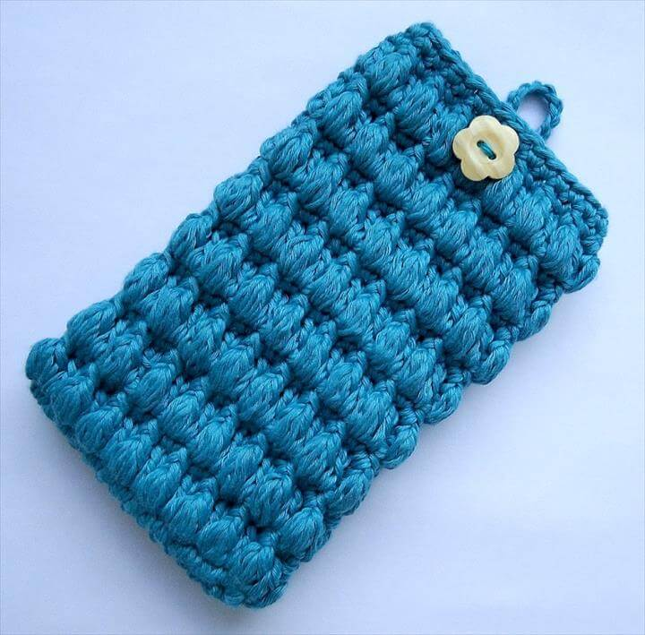 Crochet puffy cell phone cover
