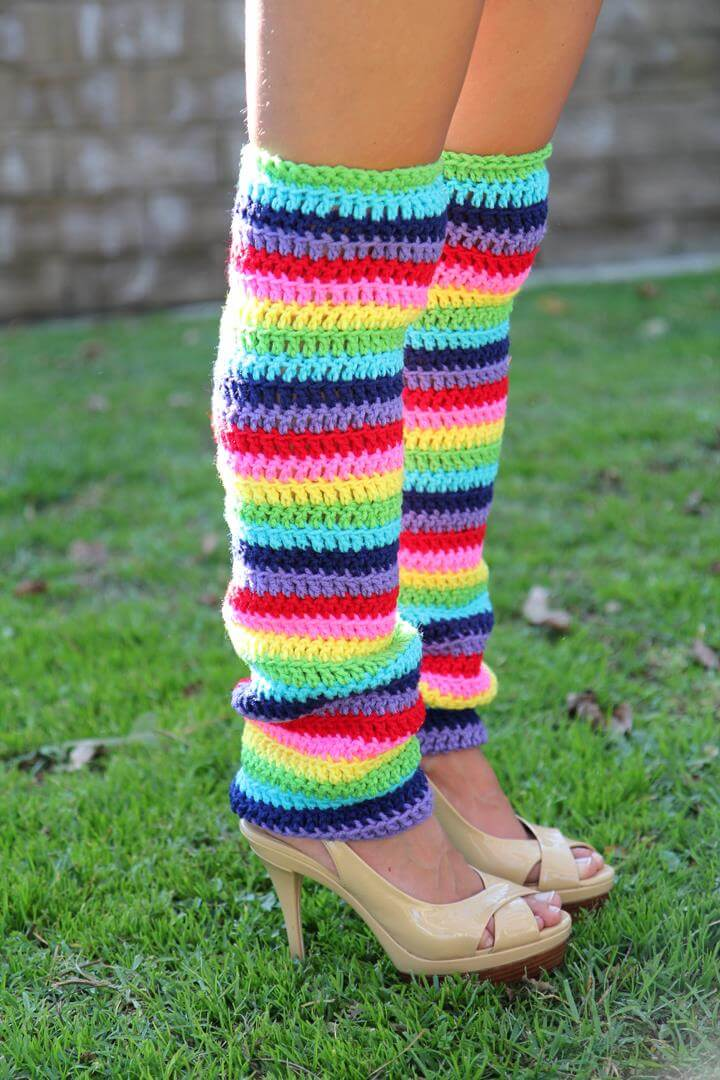 Rainbow Leg Warmers -Thigh High Stripes