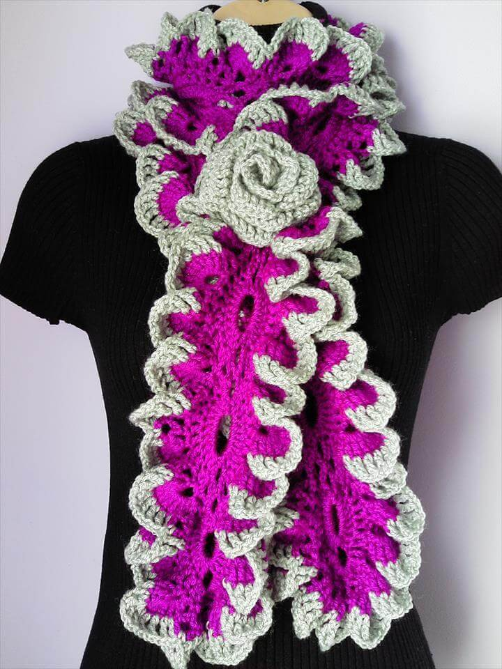 Crochet Scarf with Flower Brooch