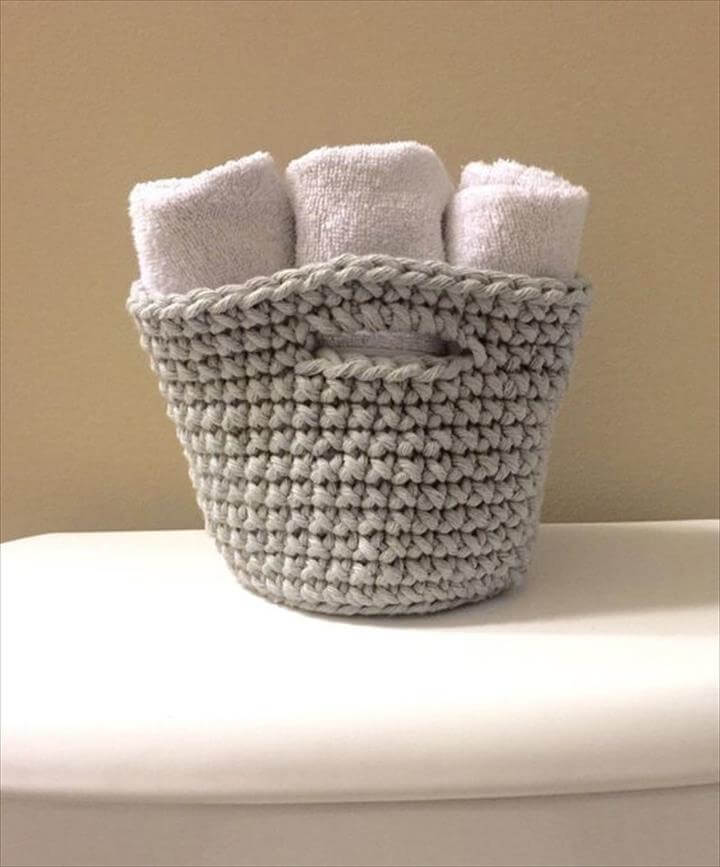 Crochet Basket, Hand Towel Holder,