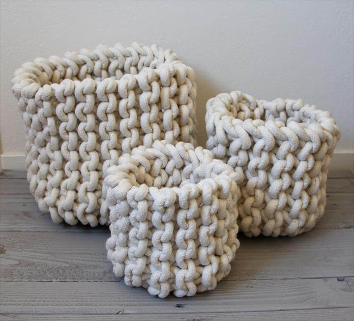 white three crochet baskets