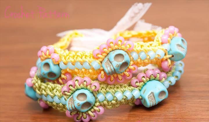 Crochet Bracelet Pattern, Sugar Skull Jewelry, Sugar Skull Bracelet