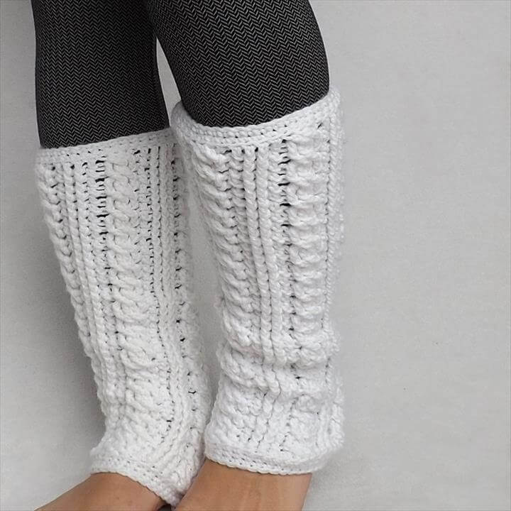 white crochet leg warmer