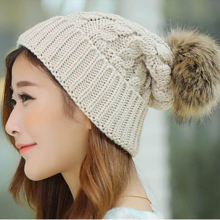 Women's Cap Beanie Knitted Hats Crochet Winter Hats For Women Female Cute Casual Fur Pompom Beanies