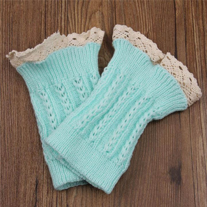 top lace crochet leg warmer
