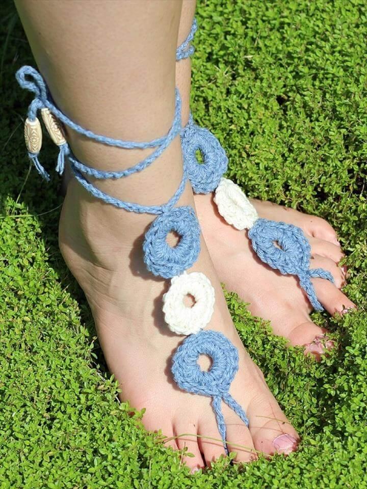 Beginner Barefoot Crochet Sandals