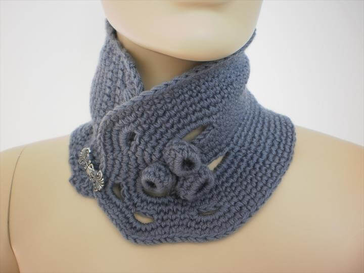 crochet grey scarf neck warmer cowl scarf from levintovich Cowl Neck Scarves Crochet