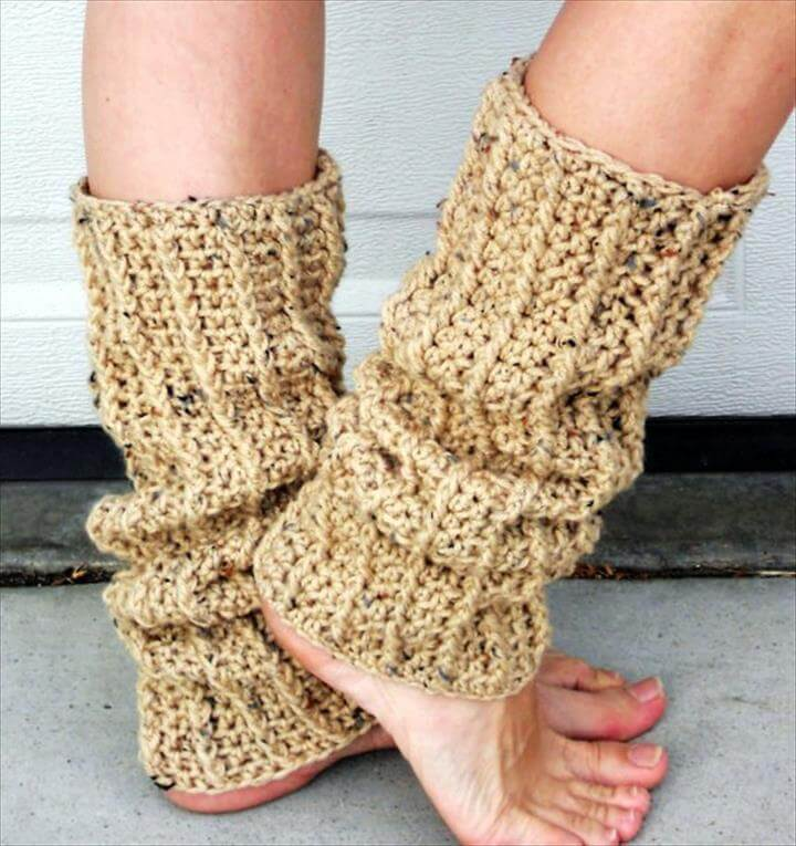Speckled oat crochet ribbed dance trendy leg warmers,
