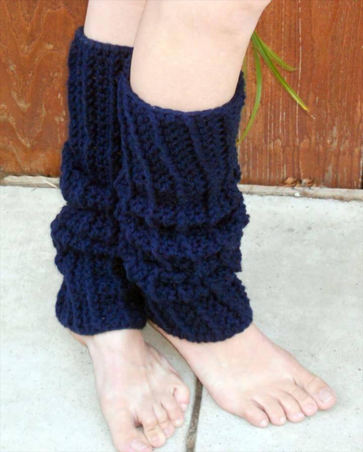 Crocheted ribbed dance trendy leg warmers in navy