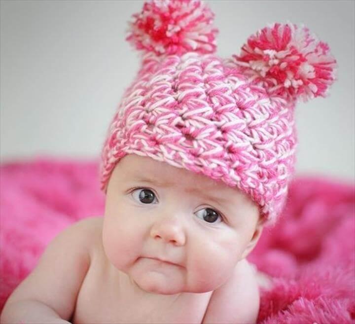 Crochet Pom Pom Hat