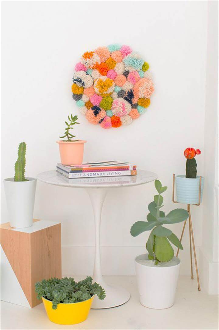Cool DIY Ideas for Fun and Easy Crafts - DIY Pom Pom Wall Art Hanging -
