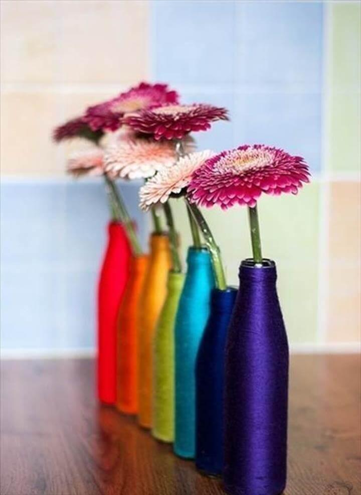 yarn flower vases, bottle yarn vases