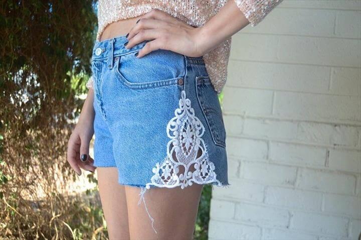 Denim Lace Inset Shorts