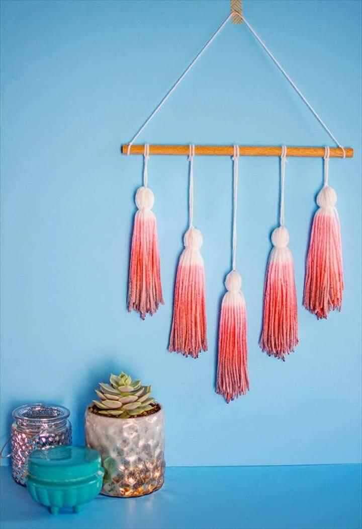Dip Dye Yarn Tassel Wall Hanging