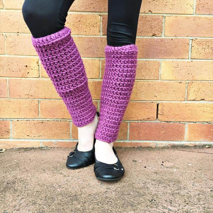 purple crochet leg warmer