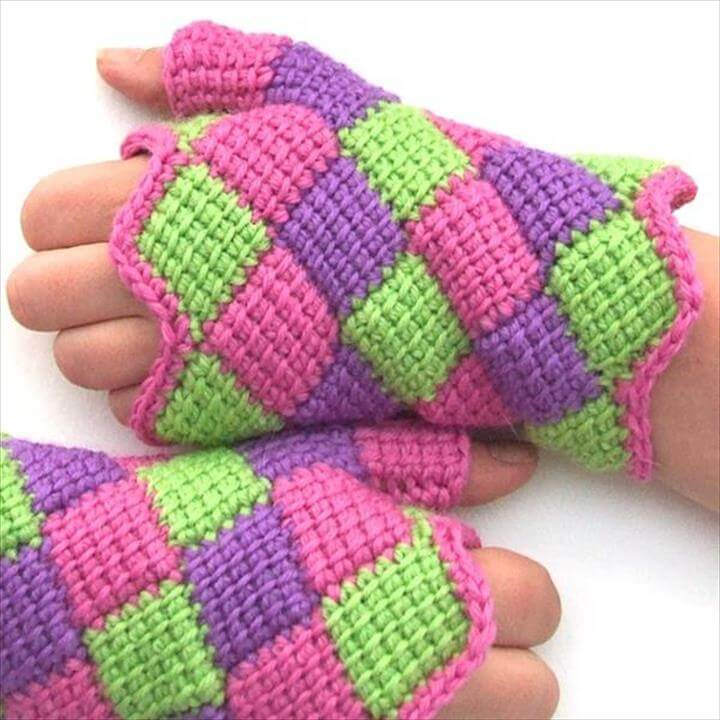 Entrelac Crochet Fingerless Gloves