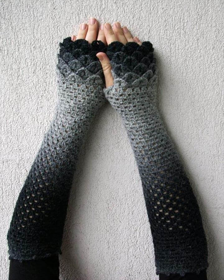 dyed crochet arm warmer