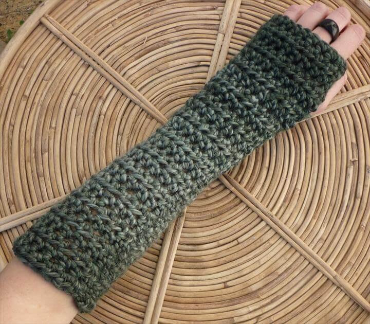 Extreme Length Crochet Arm Warmers in CLOUDY GREY