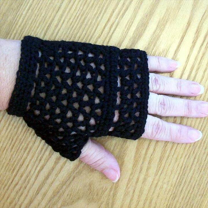 Fingerless Gloves - Black Lacy Mesh Goth