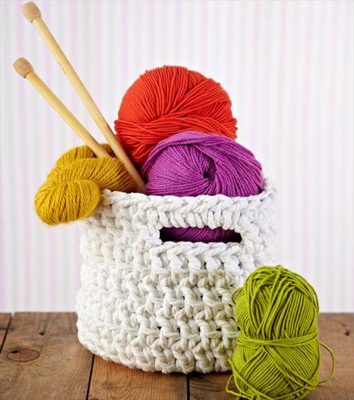 storage basket white creative crochet ideas