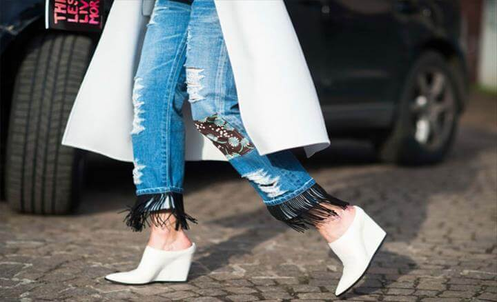 Ostrich Feather Trim Jeans